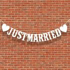 Vintage JUST MARRIED Wedding Banner Party Decor Bunting Photo Booth Props