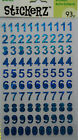 Blue Holographic Numbers Stickers 93 Pcs Darice Free Shipping NIP