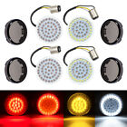4x LED Bullet Style Turn Signals Light Inserts W Smoke Lens Fit For Harley USA