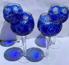Bohemian Crystal Cut to Clear Cobalt Blue Wine Glasses Set of 4