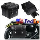 USA Shipping Pair Left+Right Motorcycle Bikes Side Luggage Saddle Bag PU Leather