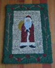 Father Christmas Primitive Rug Hooking Kit With Cut Wool Strips