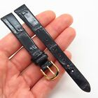 13mm LONGINES Black Genuine Calf Leather Gold Tone Stainless Steel Watch Band