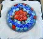 Paperweight Murano Art Glass Millefiori 4 Round Dome Shape Blue and Red