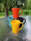 set 4 LATTE bistro MUG CUP mulberry daffodil poppy turquoise FIESTA 18 OZ new