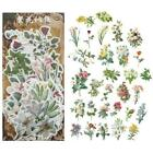 60X Vintage Flowers Plant Stickers Stationery DIY Scrapbooking Dec Stickers O9R0