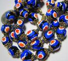 Gorgeous ITALIAN MILLEFIORI GLASS Beads Vintage Necklace Blue Red