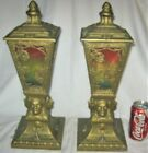PAIR ANTIQUE ART DECO NATIVE AMERICAN INDIAN TORCH LAMP GLASS SCONCE LIGHT SHADE