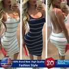 US Summer Women Fashion Backless Striped Sleeveless Sexy Dress for Casual Beach