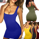 Women Bandage Bodycon Tops Sleeve Evening Party Cocktail Club Short Tank Dress