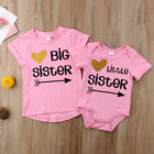Little Sister Baby Girls Romper Big Sister T shirt Tee Matching Outfits Clothes