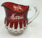 Ruby Red Flash Glass Souvenir Pitcher Maria Etched EAPG 1895 Fancy Cut Clear