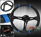 For Nissan 6Bolt 350mm 35 Deepdish Steering Wheel Carbon Fiber Pvc Leather Blu