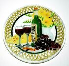 Peggy Karr Fused Art Glass Wine Grapes  Cheese 11 Round Plate Platter Mint