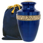 Serenity Blue Beautiful Adult Cremation Urn for Human Ashes w Velvet Bag