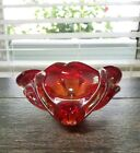 Glass Flower Bowl Jewelry Dish With Controlled Bubbles