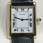 Cartier Tank 18k Solid Gold  Men's Size Wrist Watch.  23.5mm.  Recently serviced