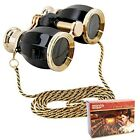 HQRP Opera Glasses Antique Style in Elegant Black Color with Gold 88777410625141