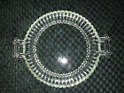 Vntg clear pressed glass cross bar handle plate bubble base ribbed scalloped