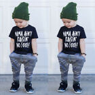 Fashion Toddler Baby Boy Clothes T shirt Top+Camo Long Pants Kids Outfits Summer