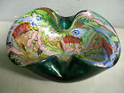 MURANO ITALIAN ART GLASS BOWL MULTI COLOR SWIRLS SILVER  GOLD AVENTURINE OVOID