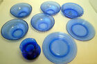 8 Piece HAZEL ATLAS Cobalt Blue Bowls Cereal Plates Vase Shirley Temple Lot