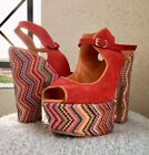 Vero Cuio Italian Platform Peep toe heels with geometric rainbow weaving