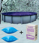 33 Round Above Ground Winter Pool Cover + 4x4 Air Pillows + Winterizing Kit