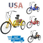 7 Speed Adult 243 Wheel Tricycle Trike Bicycle Basket Shopping Cart 4 Color