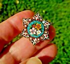 Antique Victorian MICRO MOSAIC ITALY flower BROOCH Pin millefiori jewelry