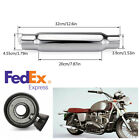 12 Silver Motorcycle Exhaust Muffler Pipe Tip Rear Tail Tube For Harley Custom