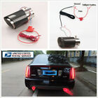 35 61mm Inlet Carbon Fiber Look Straight Edge RED LED Car Exhaust Muffler Tip US