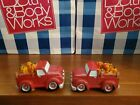 BATH  BODY WORKS HALLOWEEN PUMPKIN CANDLE TOPPER RED TRUCK X2