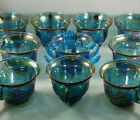 Vtg Blue Iridescent Carnival Glass Harvest Grape Indiana 10 Punch Bowl Cups Hook