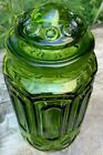 Stars Canister Apothecary Jar Green Glass Large