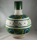 Large 11 Mexico Terra Cotta Clay Hand Painted Stripe Vase Green Yellow Textured