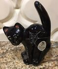 Fenton Glass Black Halloween Scaredy Cat Spider Web Hand painted J Cutshaw