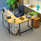 L Shaped Wood Desk Computer Gaming Laptop Table Home Desk Office Workstation