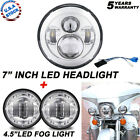 75W 7 LED Projector Headlight + Passing Lights Fit for Harley Touring Chrome