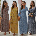 Women's Ladies Boho Floral Long Maxi Dress Long Sleeve V Neck Slit Tunic Dresses