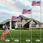 6 20 25 30Ft US American Flagpole Sectional Telescoping Kit 3x5 Flag Gold Ball