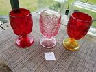 3 Vintage L.E. Smith Moon Stars Goblets Glasses Ruby Red, Amberina, Pink