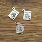 15 Passport Charms Travel Vacation Abroad Charms Antique Silver Tone 15x18 576