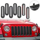 7PCS Clip in Front Grille Insert Mesh Cover Trim for Jeep Wrangler JK JKU 07 15