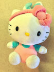TY HELLO KITTY EASTER BUNNY BEANIE BABY - BLUE EARS, PINK JUMPER - EUC