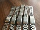 JOB LOT OF x 5 VINTAGE SEIKO STAINLESS STEEL GENTS USED WATCH STRAPS (SL34)