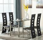5 Piece Dining Set Table  4 Chairs Steel Kitchen Room Furniture Black