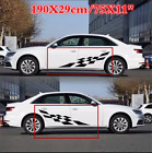 Black Sports Racing Lattice Graphic Decal Car Body Side Door Vinyl Stickers Pair