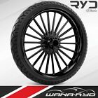 Pulse Black 21 x 35 Front Wheel and Tire Package 2000 2020 Harley Touring