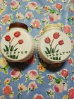 FIRE KING Tulip White Salt and Pepper Shakers  Pair with Original TULIP LID